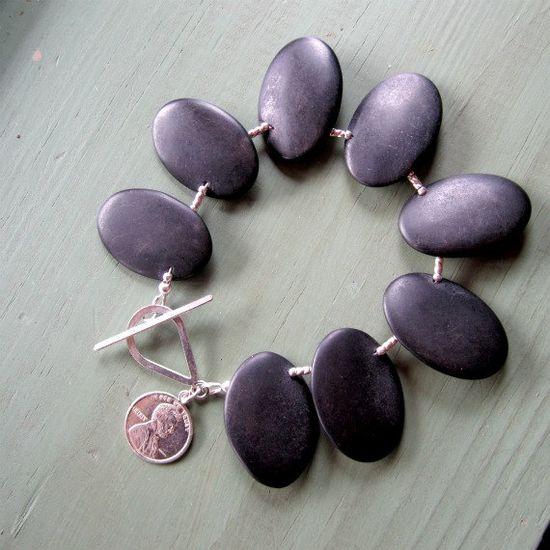 Black Bracelet Sterling Silver Penny Charm by jewelrybycarmal, $50.00