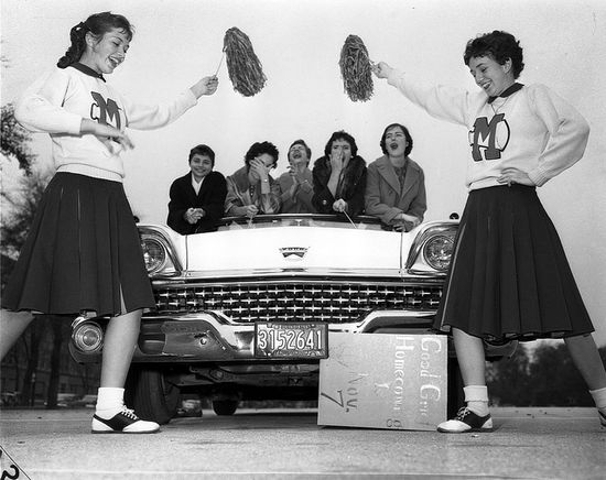 Such a fabulously fun moment in time. #vintage #school #cheerleader #uniform #teenagers #students #pep #saddle_shoes #1950s #car