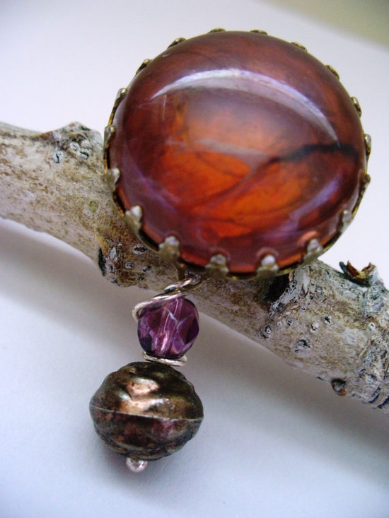 Rustic Fall Brooch Brown Purple Repuposed by kzannoart on Etsy, $12.00