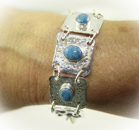 ARTISAN HANDMADE SILVER jewelry Bracelet with Blue Denim Lapis cabochons.