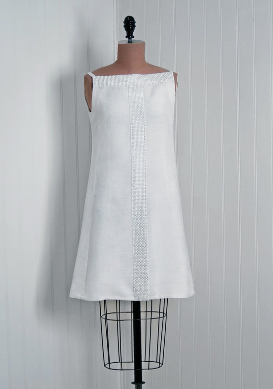 1960's Vintage Rhinestone Trimmed White Linen Sleeveless A-Line Cocktail Mini-Dress