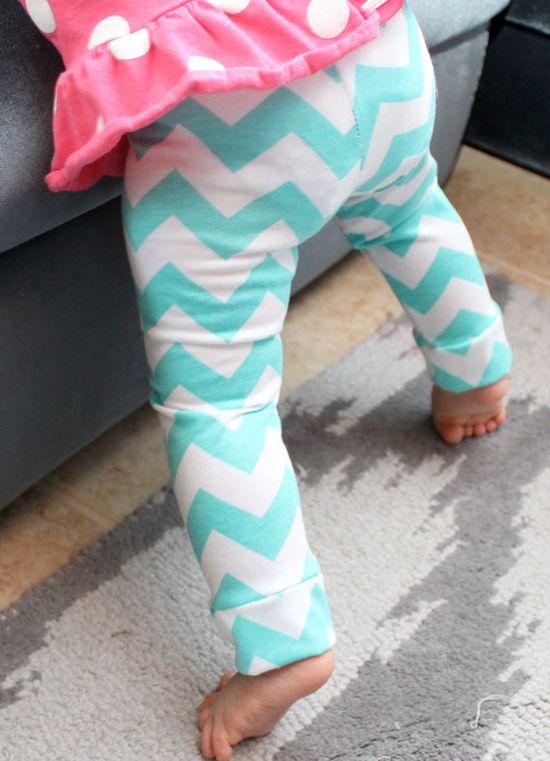 Baby Girl LeggingsTiffany Blue Chevron