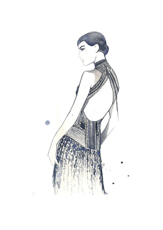 Watercolor Fashion Illustration  Art Deco by JessicaIllustration, $30.00