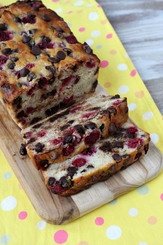 Dark Chocolate Raspberry Banana Bread.