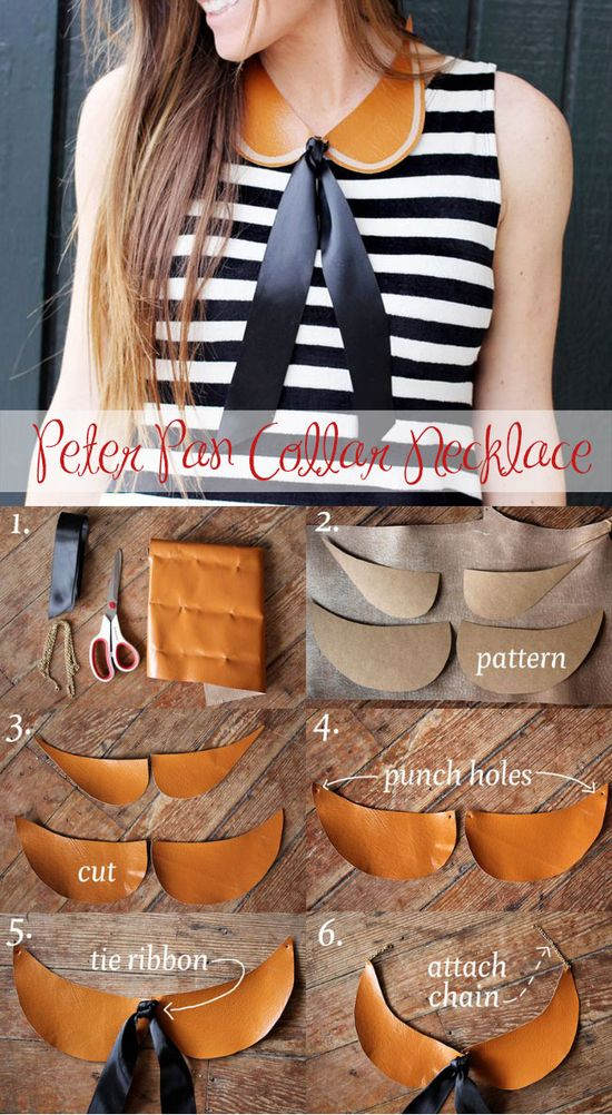 7 DIY fashion projects -  Leather Collar. Cute!