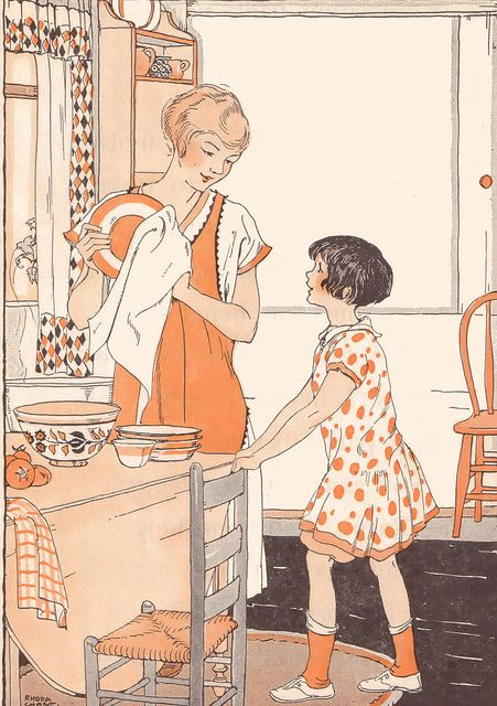 Lovely shades of orange add interest to this darling 1920s home life scene. #vintage #1920s #illustration #homemaker #housewife