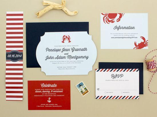 Die Cut Nautical Wedding Invitation, lobster wedding invite. New England wedding