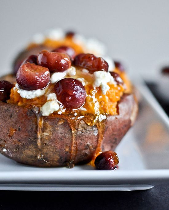 Baked Sweet Potato With Roasted Grape, Goat Cheese, and Honey
