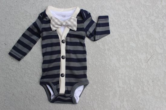 Cardigan and Bow Tie Onesie Set  Navy and Grey Gingham by HaddonCo, $40.00