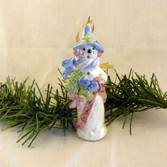 Ceramic Oakknob Snowman Ornament with by GrapeVineCeramicsGft, $10.00 #Christmas #TreeOrnament #decoration
