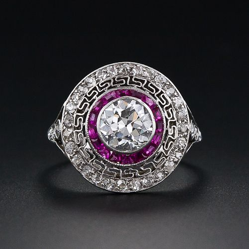 .90 Carat Diamond and Ruby Art Deco Ring - 10-1-3831 - Lang Antiques