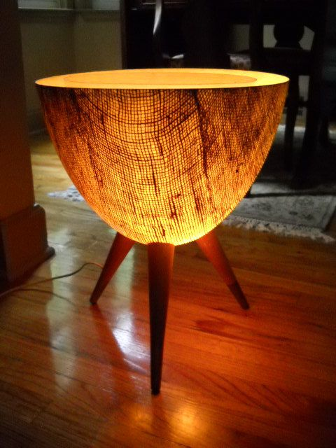 MID CENTURY MODERN bullet planter with Interior light Eames Kimball