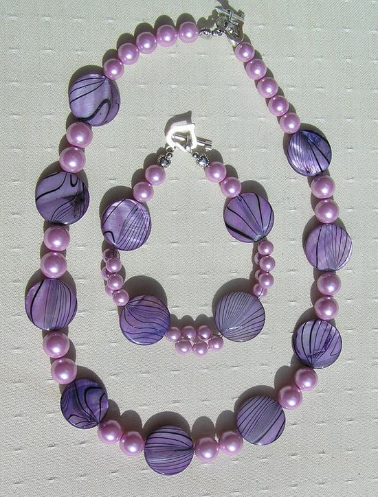 Necklace & Bracelet Set  Mother of Pearl and by SunnyCrystals, $32.75