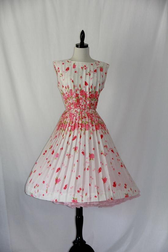 1950's Vintage Designer Pleated Full Skirt Party Dress