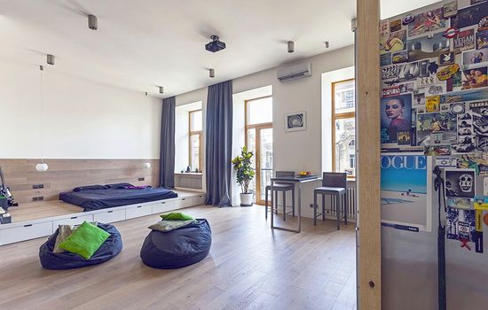 What a modern space! Love it! -- living modern apartment Unusual Layout Defining a 58 Sqm Open Studio Apartment in Ukraine