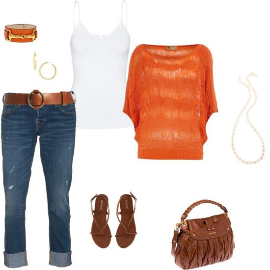 orange love - Polyvore A fashion look from May 2012 featuring Dorothy Perkins sweaters, True Religion jeans and H&M sandals. Browse and shop related looks.