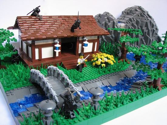 LEGO Scene from feudal Japan. And Ninja attack!