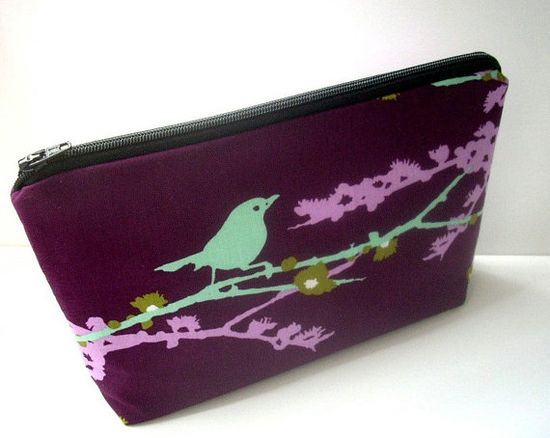 Large Cosmetic Bag Flat Bottom Padded Zipper Pouch Sparrows on Plum by JPATPURSE