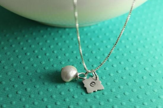 Unique custom stamped initial necklace. $22.
