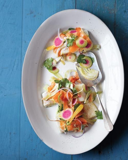 Broiled Halibut with Shaved Spring Vegetable Salad