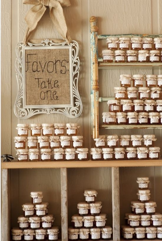 love the wedding favors display