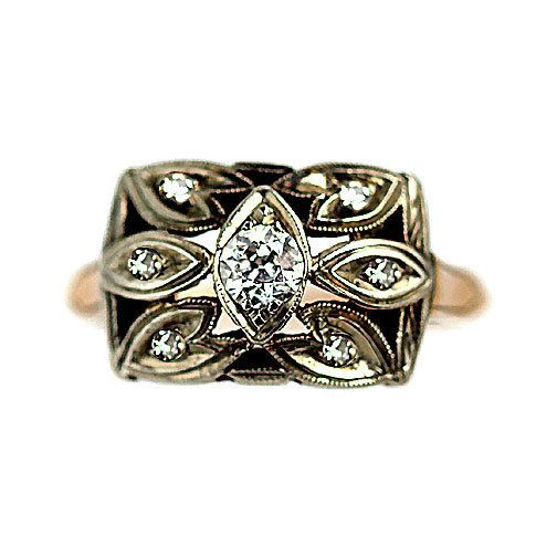 Yellow Gold Old European Cut Diamond Ring