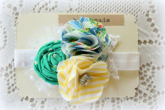 Flower Headband Baby Girls Headband Green Yellow White