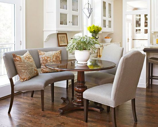 Before and After: Remodeled Ranch House - breakfast area + curved settee