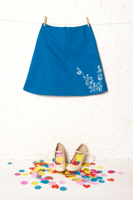 floral printed skirt with butterfly in azure blue. (RK0402). €65,00, via Etsy.