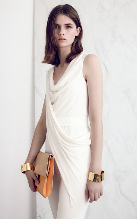CHIC CHIC CHIC. Vionnet Double Stretch Draped Jumpsuit, cuffs and clutch