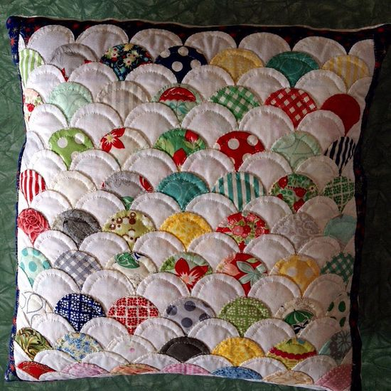 English Paper Pieced Button Back Cushion by Julie Kindleyside
