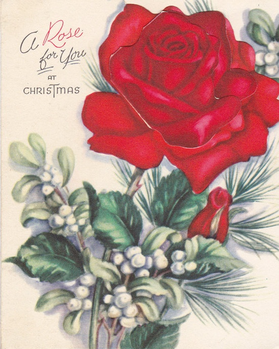 A Rose For You at Christmas. #vintage #Christmas #cards #1950s