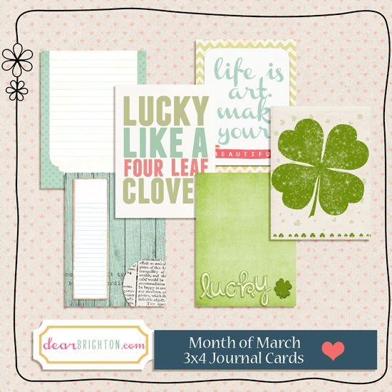 Free Welcome March Journal Cards for Project Life from dear brighton