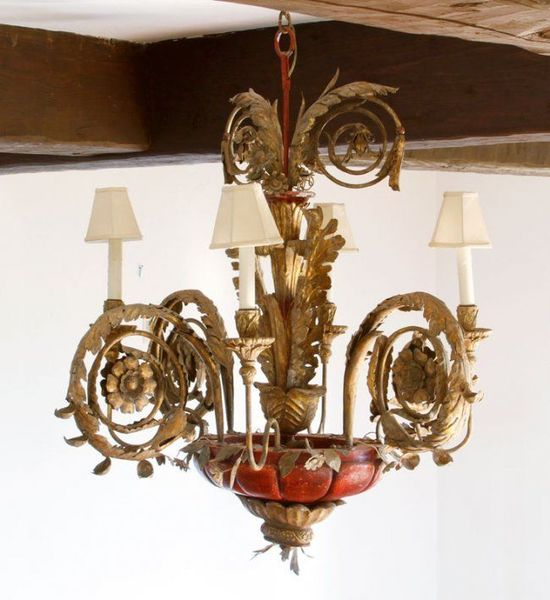 Antique Italian Iron Carved Gilt Wood Wooden Chandelier Bob Green Collection