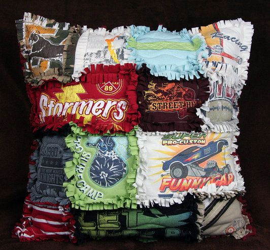 T-shirt rag pillow. Memories and comfort all 'tied' up together… Cute!