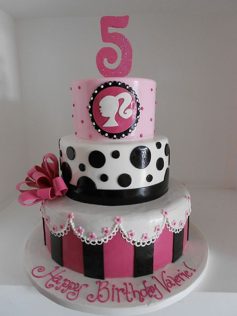 3 #Tier #Barbie #Birthday #Cake in #Pink #White #Black & #Mauve - We love and had to share! Great #CakeDecorating