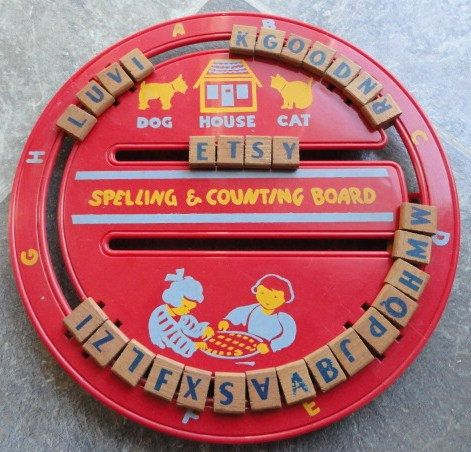Vintage  American Toys Spelling & Counting Board.  Forgot all about these! - I remember these - how cool