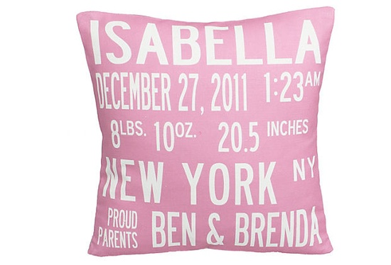What a cute gift idea! Personalized Announcement Pillow