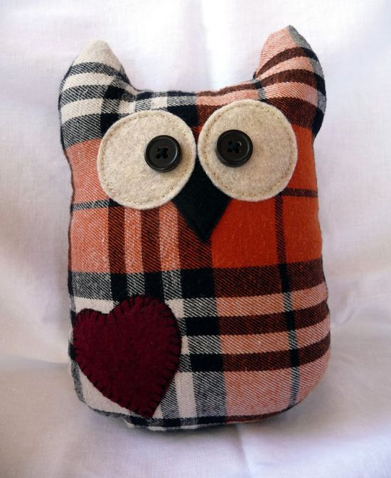 Plush Owl made of recycled flannel shirts - orange plaid with red heart (tall)