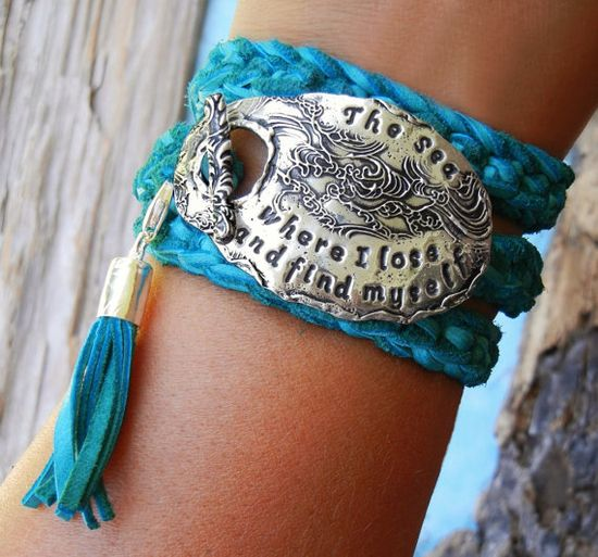 The Sea Triple Leather Wrap Bracelet by HappyGoLicky Jewelry. CLICK pic & use coupon code PIN10 for 10% off all handmade silver jewelry now!