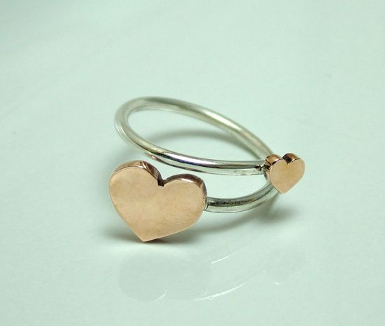 Handmade bronze and sterling silver ring by qaff. #silver #heart #ring #love #jewelry