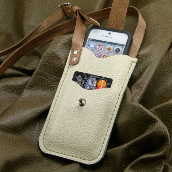 iPhone 4S Beige Leather Crossbody Case w Card by FleurdeLeather, $59.00
