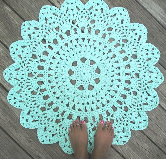 """Robins Egg Blue Cotton Crochet Doily Rug in 30"""" Circle Lacy Pattern Non Skid"""