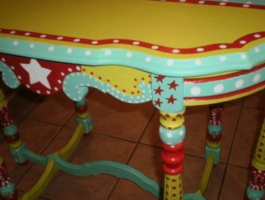 Hand Painted Furniture - Whimsical Painted Table