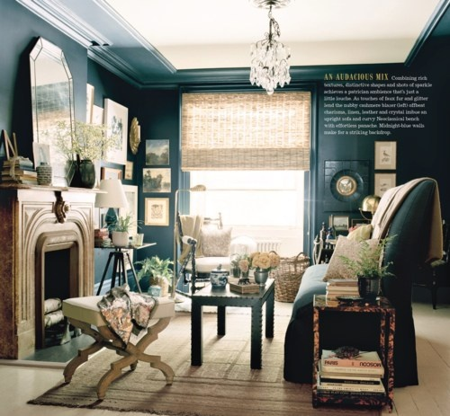 dark blue walls in an old townhouse living room