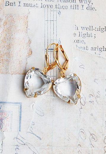 Crystal HEART Earrings Rhinestone LOVE Vintage by redtruckdesigns