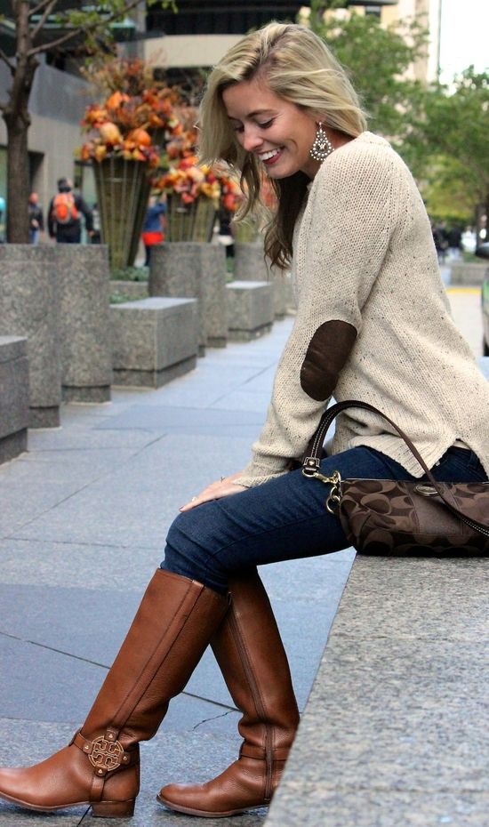 sweater with elbow patches, Tory Burch Riding boots and coach purse. Fall fashion 2013 (something like that minus the gratuitous name brands with price tags that could feed a small African village)