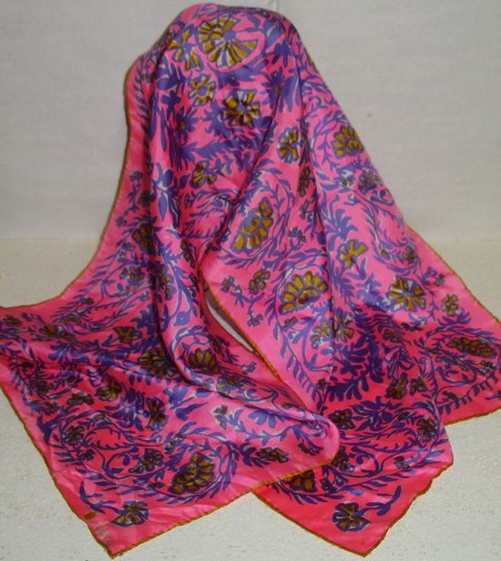 Vintage 1960's Vera Neumann Neon Pink and Blue Mod Abstract Floral Print Signed Silk Scarf Japan