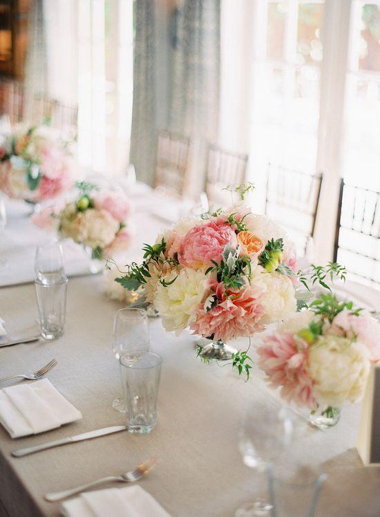 pink + blush color centerpieces. Photography by: Jose Villa #wedding #spring wedding