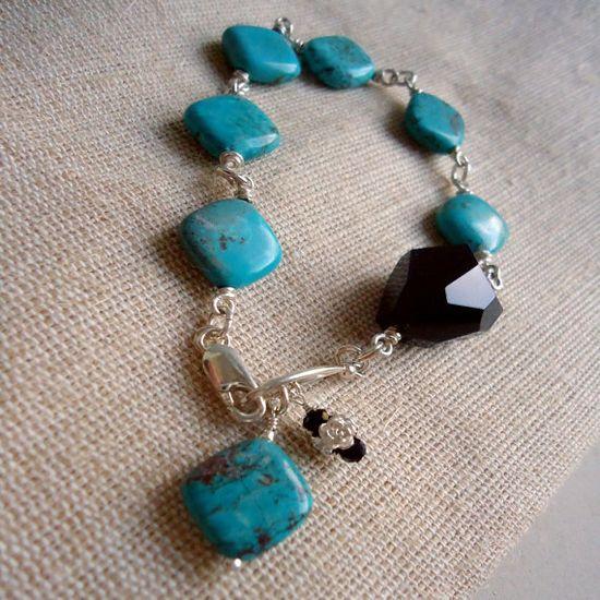 Turquoise Bracelet Sterling Silver Jewelry by jewelrybycarmal, $50.00